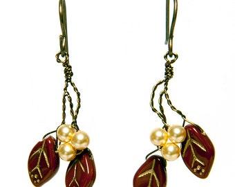 Gold and Brown Dangle Earrings, Caramel Leaf Earrings, Brown Twig Earrings, Nature Jewelry