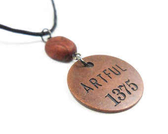 Artful Necklace, Inspirational Polymer Clay Word Pendant, Artist Token Jewelry