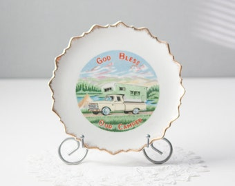 God Bless Our Camper Decorative Plate, RV Decor, Gold Trimmed Wall Plate