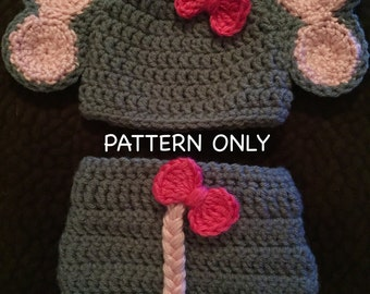 Baby Elephant Outfit Crochet PATTERN