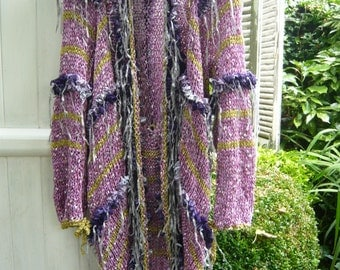Romantic handknitted coat jacket kimono subtile lilac colour psychedelic with ruffle violet ribbons enhanced by a golden thread 3D OOAK