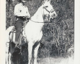 Classic TV Western - Vintage 1950s Man and Western Horse Photograph
