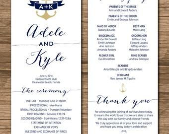 Wedding program ceremony order order of events nautical wedding program order of ceremony ceremony program order of service double junglespirit Choice Image