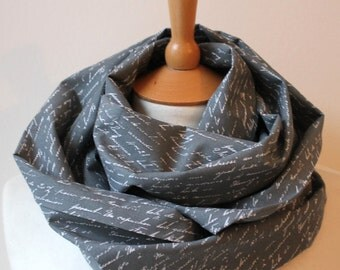 Unisex Loop/ Scarf/ writing/ poem/ grey - Headstart for happiness
