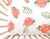 Crib Sheet Soft Floral. Fitted Crib Sheet. Baby Bedding. Crib Bedding. Minky Crib Sheet. Crib Sheets. Coral Crib Sheet.