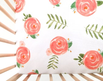 Crib Sheet Soft Floral. Fitted Crib Sheet. Baby Bedding. Crib Bedding. Minky Crib Sheet. Crib Sheets. Coral Crib Sheet.
