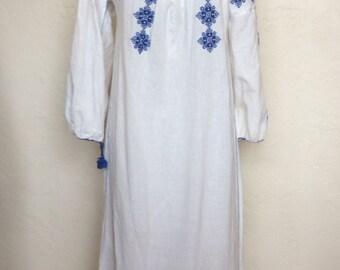 Vintage Romanian Embroidered Cotton Gauze Peasant Maxi Dress
