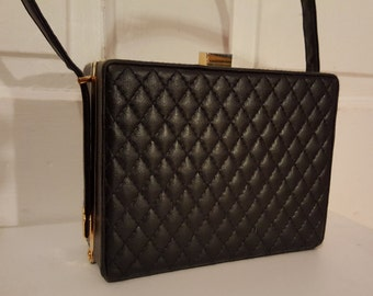 ROCKABILLY BLACK BOX // 90's Quilted Faux Leather Structured Purse Handbag Retro Gold Metal Accents Jennifer Moore