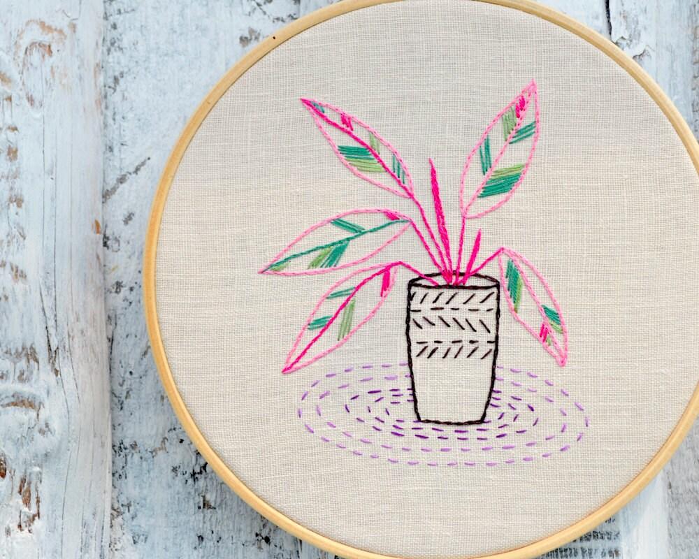 Hand embroidery patterns modern houseplants