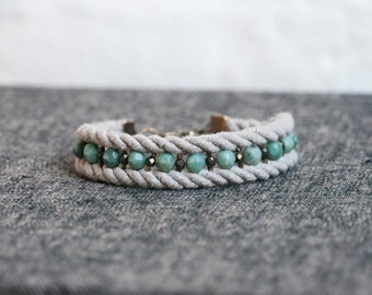 Rope and Jasper Bracelet - One of a kind