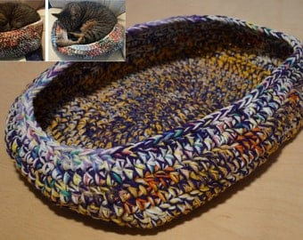 Cat Bed, Crocheted Cat Bed, Oval Cat Bed, Purple Yellow Multicolor