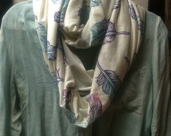 Organic infinity feather scarf