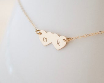 Gold Initial Hearts Necklace, Inital Tags Necklace, Kid's Initials, Mommy Jewelry, Mothers Necklace