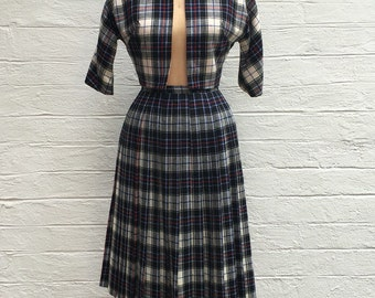 1950s Handmade Skirt & Jacket Set - Plaid Pleated