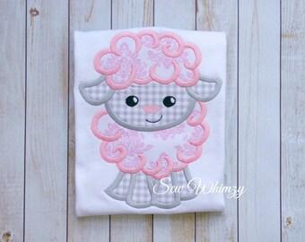 Girl lamb shirt- Girl Easter shirt- Girl's applique shirt