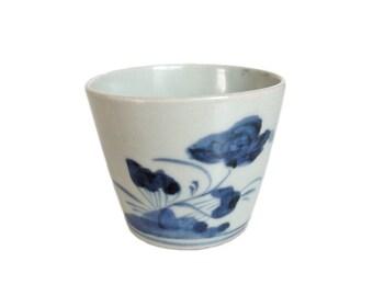 Antique Japanese Soba Choko. Japanese Porcelain. Blue and White. Noodle Cup. Japanese Sometsuke. Japanese Antique. Pottery. Floral.