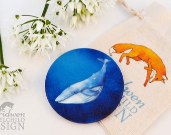 Whale Fabric Pocket Mirror, Cosmetic Mirror, Makeup Mirror, Gifts for Women, Fabric Covered Mirror