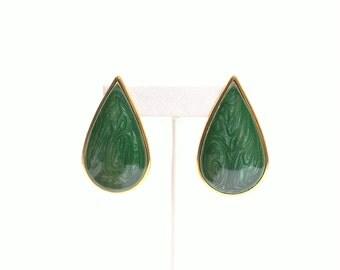 Swirled Green Enamel Teardrop Post Earrings