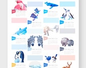 ON SALE, 2017 calendar, Wall calendar, Calender, Penguin, Whale print, Animal calendar, Geometric animals, galah, zebra, tinykiwi