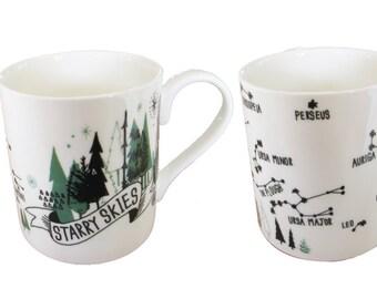 Starry skies fine bone china mug