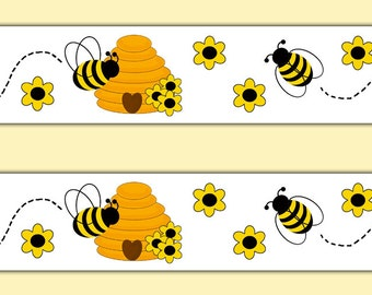 BEE BORDER DECAL Wall Art Stickers Girl Nursery Floral Room Decor Baby Shower Honey Bee Hive