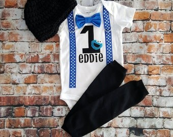 Cookie Monster Baby Boy Bow Tie Bodysuit with Suspenders - Birthday, Photo Prop, First Birthday, Sesame Street, 1st Birthday, Personalized