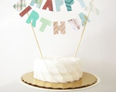 Happy Birthday Cake Topper, Cake Banner, Personalized Cake Bunting, Custom Party Decor camping outdoors forest plaid chevron green dad