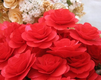 24  Pcs Red Birch Wood Roses for Weddings, Home Decorations, Scrapbooking and Floral Arrangements