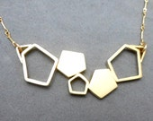 Gold Geometric Necklace with 5 Asymmetric Pentagons. Contemporary, Urban, Boho, Trendy, Minimalist