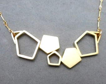 CHRISTMAS SALE: Gold Geometric Necklace with 5 Asymmetric Pentagons. Contemporary, Urban, Boho, Trendy, Minimalist