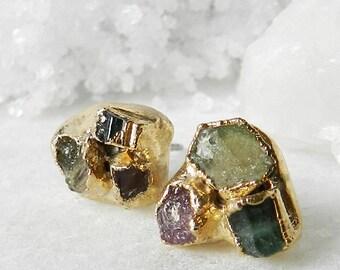 tourmaline earrings, tourmaline studs, gold earrings, stud earrings, electroformed, tourmaline crystal, raw tourmaline