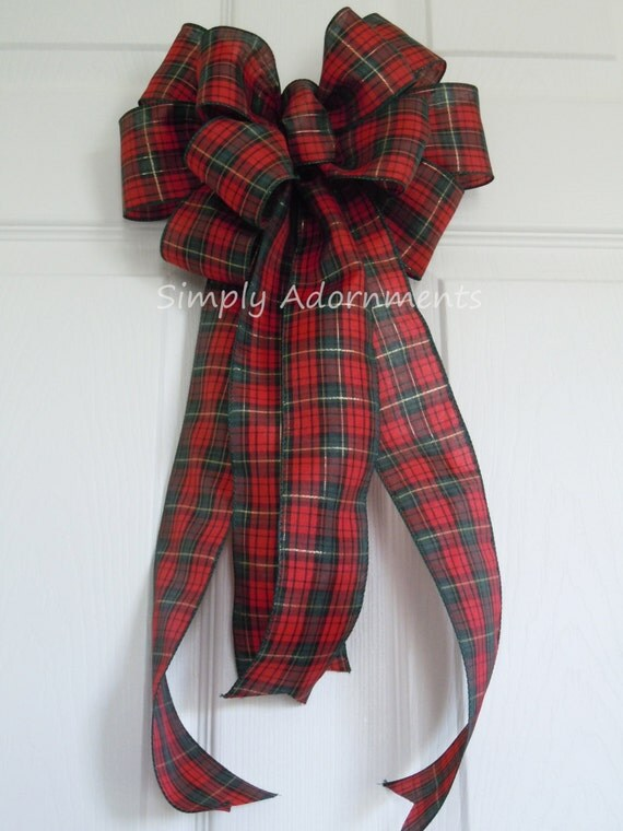 Red Green Plaid Tartan Country Wedding Pew Bow Christmas Wreath Bow Traditional Country Plaid Christmas Bow Plaid Tartan Gift Bow