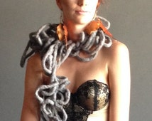 Sculptural Felted Wool Scarf Concrete Jungle OOK Handmade Ready to Ship
