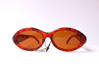 Vintage 90s Sunglasses / Oval Sunglasses w Tortoise tone Frame and amazing and metal details - Cyber/Grunge/Rave Culture
