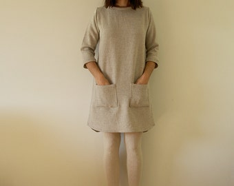Oatmeal winter wool womens shift dress