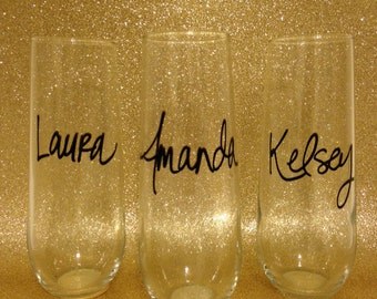Custom Stemless Champagne Glasses - Wedding - Bridesmaid Gifts