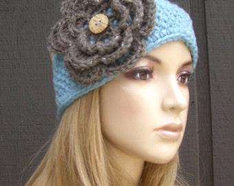 Crochet Flower Head Wrap Headband Earwarmer Winter Knit Blue with Barley Tweed Flower and Coconut Buttons