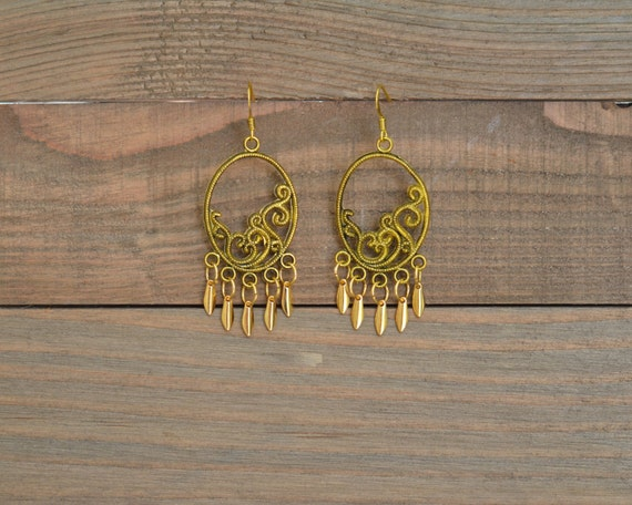 Gold Oval Fringe Earrings - Gold Spike Earrings - Gold Chandelier Earrings - Gold Statement Earrings - Gold Fan Earrings - Filigree Earrings