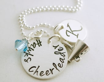 Cheerleader Necklace with Megaphone Charm Custom Cheerleading Necklace Cheerleading Team Gift Hand Stamped Sterling Silver Jewelry
