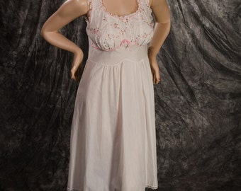 Vintage Artemis Nightgown Summer Lingerie Short Gown White with Pink Trim Medium