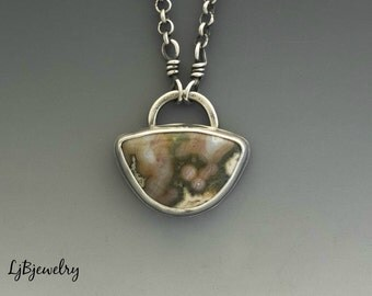 Silver Necklace, Ocean Jasper Necklace, Silver Pendant, Jasper Pendant, Metalsmith Jewelry, Handmade Necklace