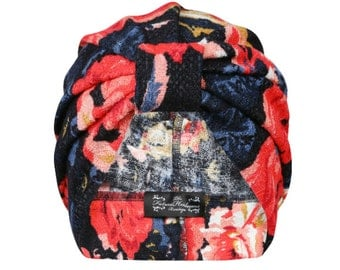Thea coral floral jersey turban