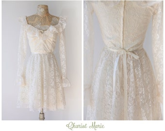 Vintage Lace Dress - 1970's Ruffled Lace Dress with Long Sleeves - Girly Cream Lace Dress with Ruffles - Size Small