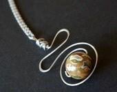 gemstone pendant necklace / rhyolite / stainless steel wire / hypoallergenic jewelry / nickel free