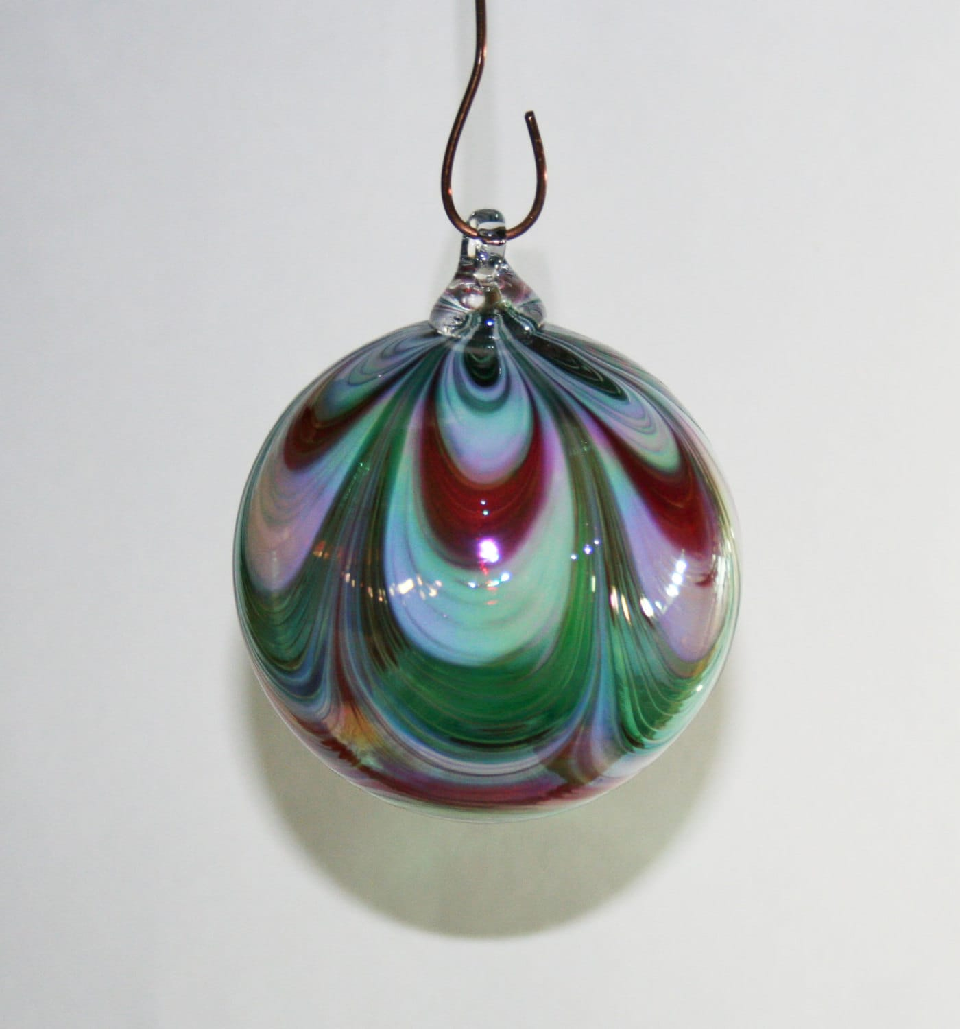 Hand blown glass christmas ornament red white by