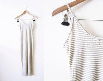 90s Dress / Ribbed Dress / Spaghetti Strap Bodycon Tan White Grunge Maxi Dress