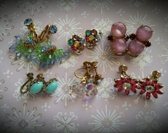 Fun Colorful Vintage Rhinestone Earrings Lot