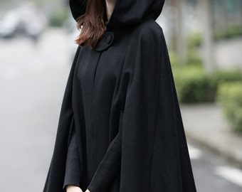 Black Hooded Wool Coat ,wool Cloak Cape, Cashmere Women Wool Winter Coat Long Jacket, Christmas Gift Coat, Black Cashmere Coat Cape Cloak