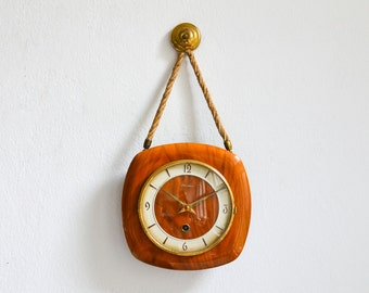 60s Pendant clock, West German wall clock, teak clock, brass clock Mid Century