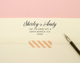 Custom Address Stamp - Swirling Cursive Self Inking Return Address Stamp